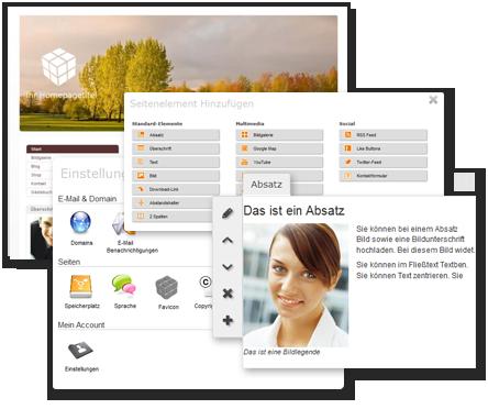 Elemente des Homepage-Baukasten